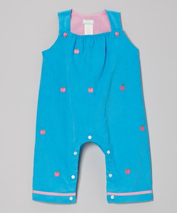 Turquoise Apple Overalls - Infant