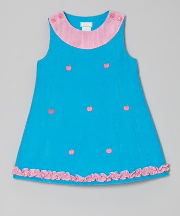 Turquoise Apple Ruffle Jumper - Infant, Toddler & Girls