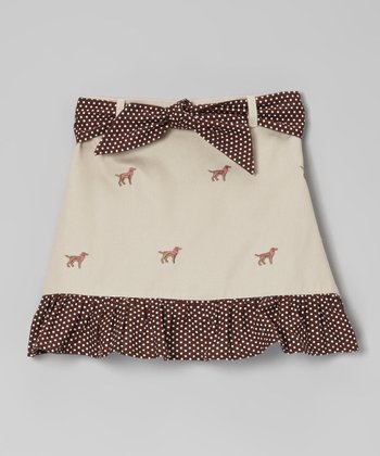 Khaki Labrador Ruffle Skirt - Toddler & Girls