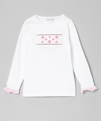White & Pink Dots Ruffle Smocked Tee - Toddler & Girls
