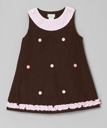 Brown & Pink Dots Ruffle Jumper - Infant, Toddler & Girls