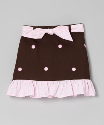 Brown & Pink Dots Ruffle Skirt - Toddler & Girls