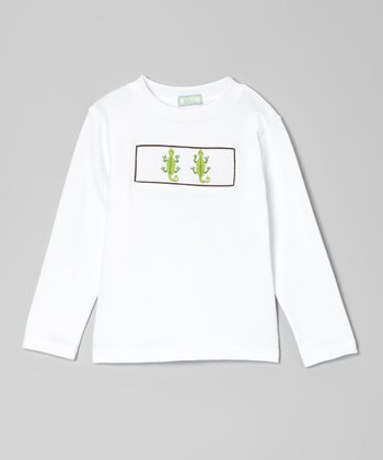 White & Green Lizard Tee - Infant, Toddler & Boys
