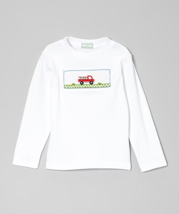 White & Red Fire Truck Tee - Infant, Toddler & Boys