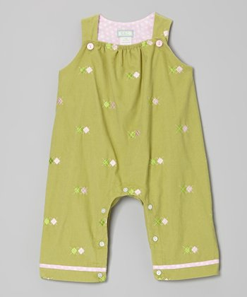 Green Argyle Overalls - Infant