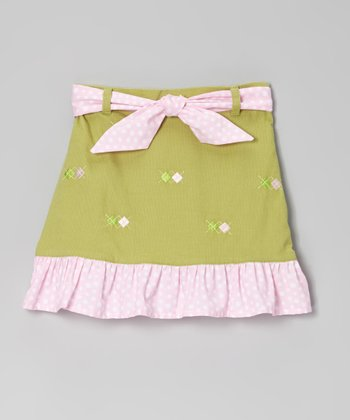 Green Argyle Ruffle Skirt - Toddler & Girls