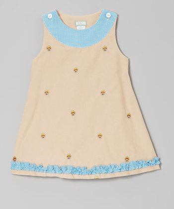Khaki Flower Ruffle Jumper - Infant, Toddler & Girls