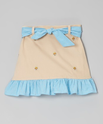 Khaki Flower Ruffle Skirt - Toddler & Girls