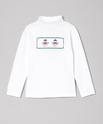 White & Green Snowman Smocked Turtleneck - Infant