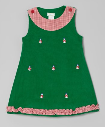 Green Snowman Ruffle Jumper - Infant, Toddler & Girls
