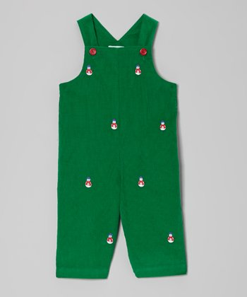 Green Snowman Overalls - Infant & Toddler