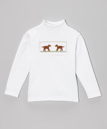 White & Brown Labrador Smocked Turtleneck - Infant, Toddler & Boys