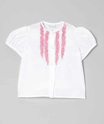 White & Pink Gingham Ruffle Button-Up - Toddler & Girls