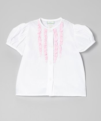 White & Pink Polka Dot Ruffle Button-Up - Toddler & Girls
