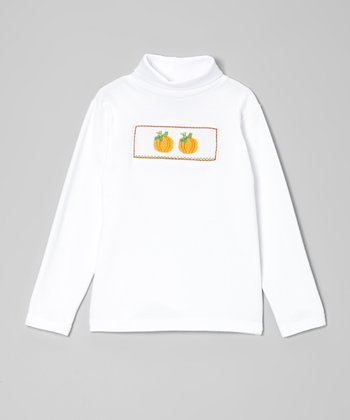 White & Orange Pumpkin Smocked Turtleneck - Toddler & Girls