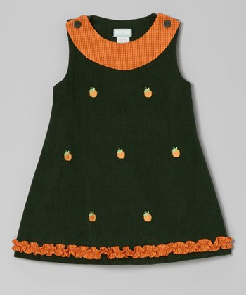 Dark Green Pumpkin Ruffle Jumper - Infant, Toddler & Girls