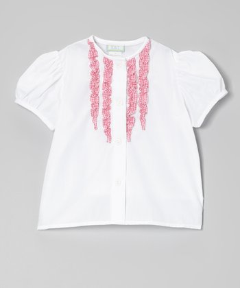White & Hot Pink Gingham Ruffle Button-Up - Toddler & Girls