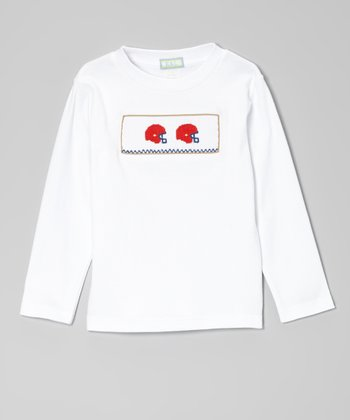 White & Red Helmet Smocked Tee - Infant, Toddler & Boys