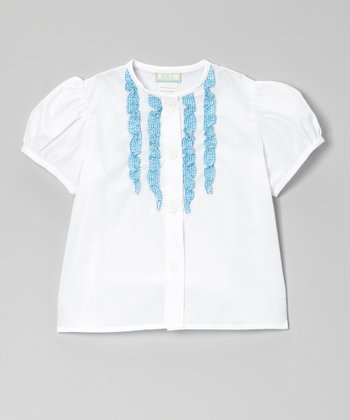 White & Turquoise Gingham Ruffle Button-Up - Toddler & Girls
