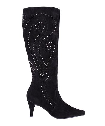 Black Studded Velvet Lexiss Boot