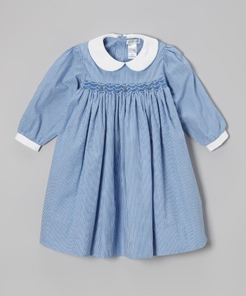 Royal Blue Gingham Smocked Dress - Infant