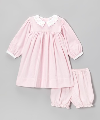 Pink Peter Pan Collar Dress & Bloomers - Infant