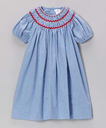 Royal Blue Gingham & Red Rickrack Dress - Infant & Toddler