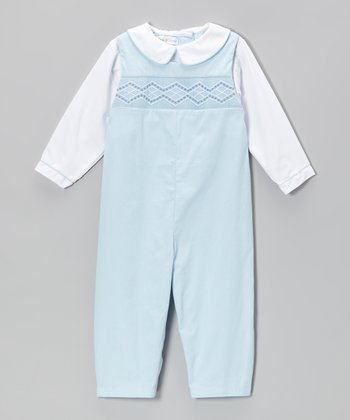 White & Blue Diamond Layered Playsuit - Infant