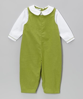 White & Green Gingham Layered Playsuit - Infant
