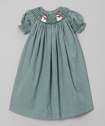 Green Gingham Snowman Bishop Dress - Infant, Toddler & Girls