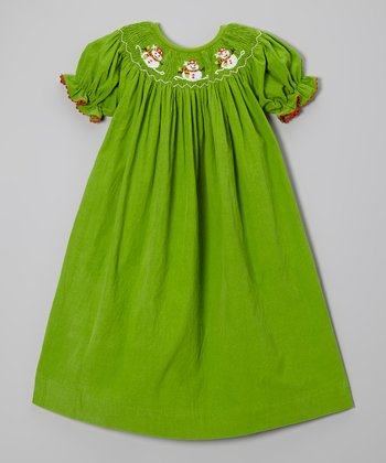 Green Snowman Bishop Dress - Infant, Toddler & Girls