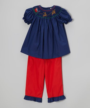 Navy Reindeer Smocked Top & Red Pants - Infant, Toddler & Girls