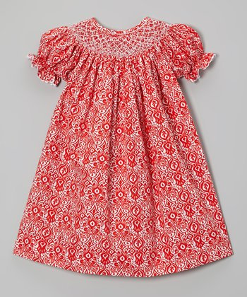 Red Damask Bishop Dress - Infant