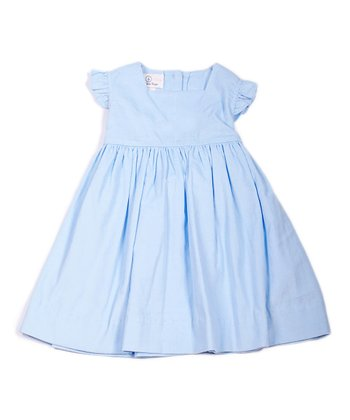 Light Blue Corduroy Angel-Sleeve Dress - Infant, Toddler & Girls