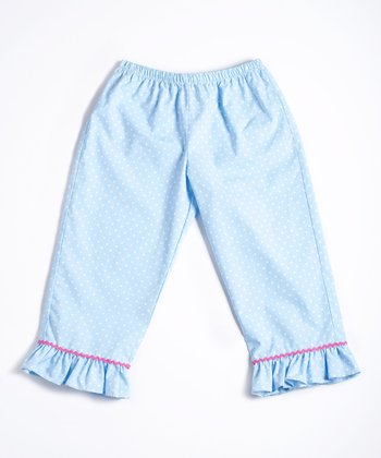 Blue & White Polka Dot Ruffle Pants - Infant, Toddler & Girls