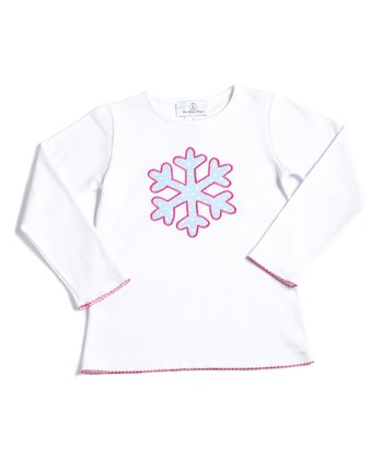 White Snowflake Appliqué Tee - Infant, Toddler & Girls