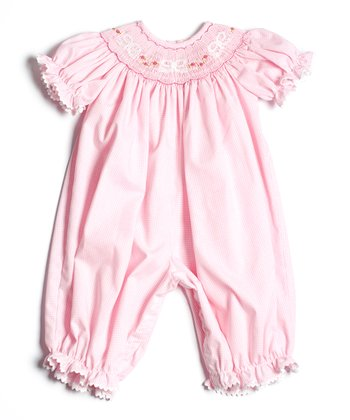 Pink Bows Smocked Bubble Playsuit - Infant & Toddler