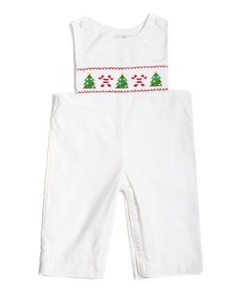 White Candy Cane Smocked Overalls - Infant & Toddler