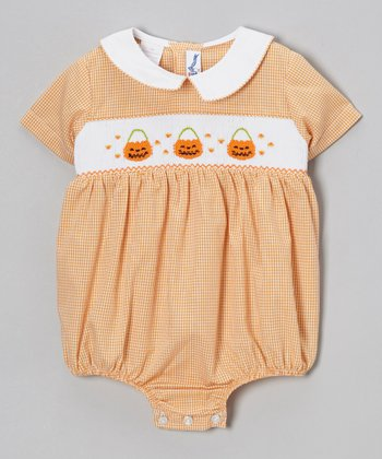 Orange Gingham Jack-o'-Lantern Bubble Bodysuit - Infant