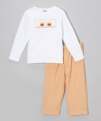 White Jack-o'-Lantern Tee & Orange Pants - Infant & Toddler