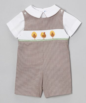 White Top & Brown Turkey Shortalls - Infant & Toddler