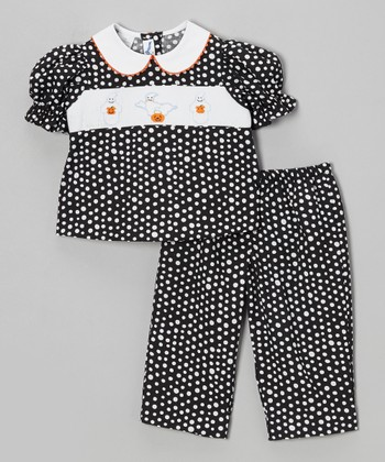 Black Polka Dot Boo Top & Pants - Infant, Toddler & Girls