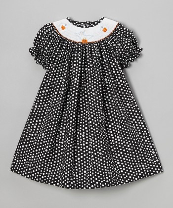 Black Polka Dot Boo Bishop Dress - Infant, Toddler & Girls