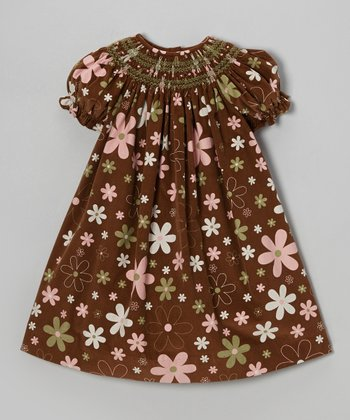 Brown & Pink Floral Bishop Dress - Infant & Toddler