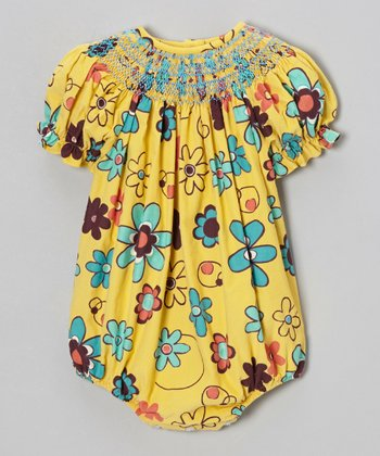 Yellow Retro Flowers Bubble Bodysuit - Infant