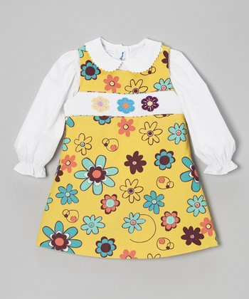 White Top & Yellow Retro Flowers Jumper - Infant, Toddler & Girls