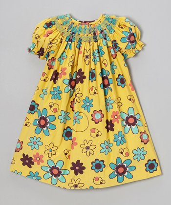 Yellow Retro Flowers Bishop Dress - Infant, Toddler & Girls
