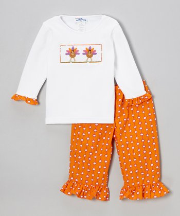 White Turkey Top & Orange Ruffle Pants - Infant & Toddler