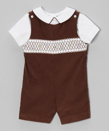 White Top & Brown Shortalls - Infant & Toddler