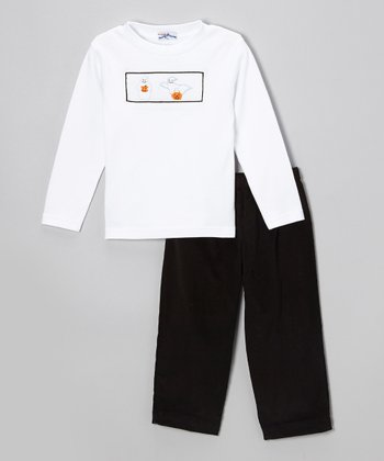 White Boo Top & Black Pants - Infant